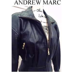 ANDREW MARC Vintage Black Leather Moto Jacket M
